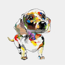 2017 100% Hand Painted Abstract Mural Animals Oil Painting Wall Knife Lovely Dog Painting For Living Room
