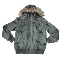 Winter multi-pocket mens coat hoody nylon baseball style jacket