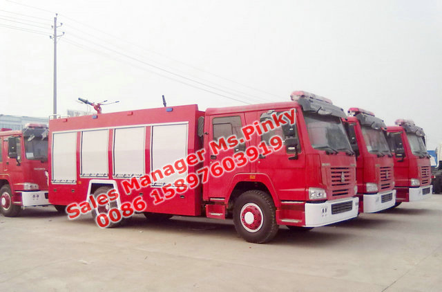 HOWO 4x2 8T water and foam fire fighting vehicle