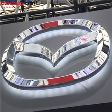 wall mounted metal frame acrylic base back lit car logo/3D LED auto sign for car stores/vacuum forming 3d car logo