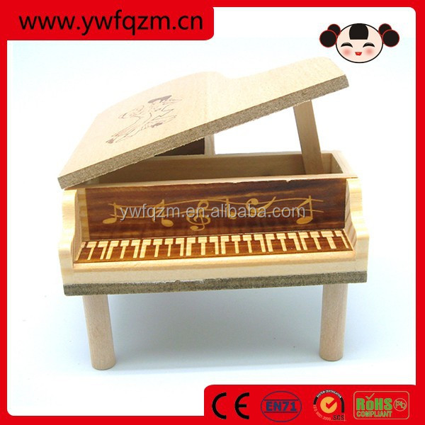 Mini Piano Shaped Wood Music Box