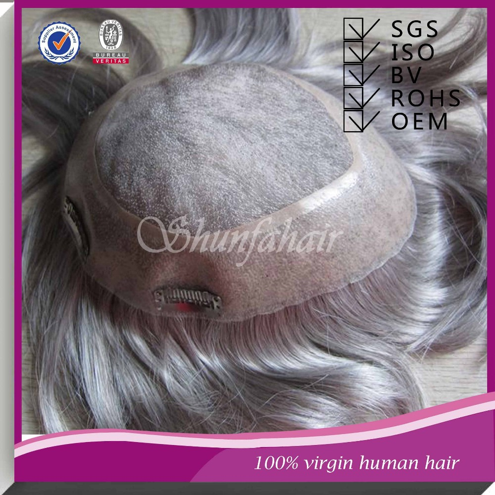 Bleached knot brazilian hair wig stock toupee gray