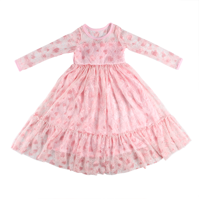 New simple baby clothing Long sleeved girls lace dress long frock design