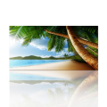 Custom Canvas Art Prints Beautiful Seascape Window Secenry Picture for Living Room Gold Beach Palm Tree Wall Poster 50cmx100cm