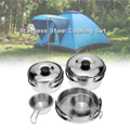 Outdoor Camping Hiking Cookware Backpacking Picnic Stainless Steel 8pc Cook Set