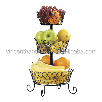 Useful 3 tier decorative wire fruit basket countertop stand