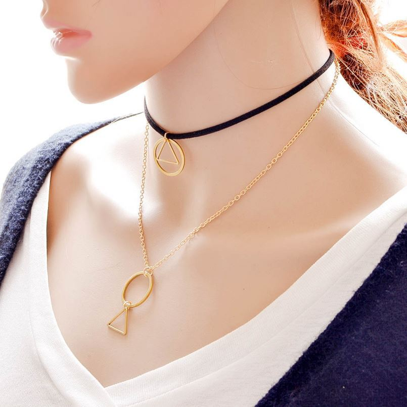 Double Layered Black Velvet Gold Tiny Chain with Double Circle Triangle Pendant Chokers Necklace