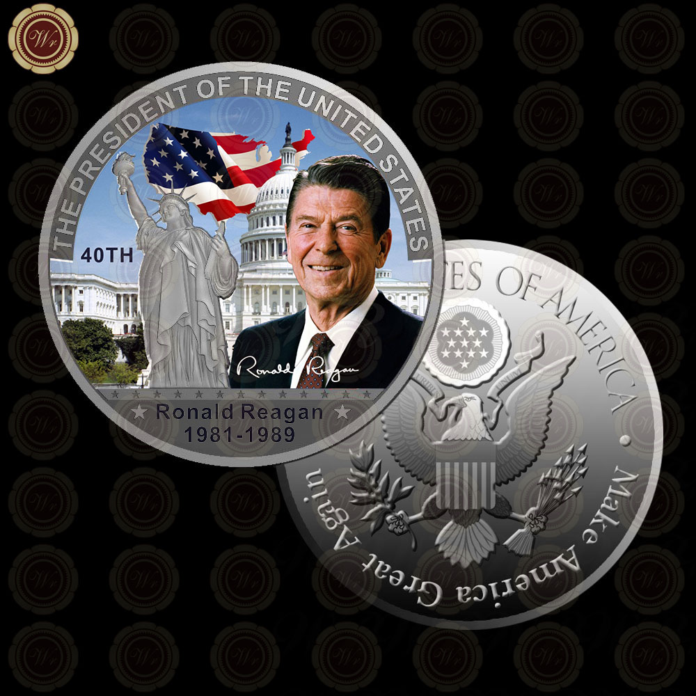 WR Home Decorative White House Crafts Unique Souvenir Gift <strong>Metal</strong> 40th American President Ronald Reagan Non-currency Coins 40x3mm