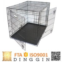 Folding metal dog crate wholesale with double door