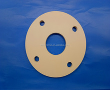 Customized large size alumina ceramic 4 bolt round orifice pipe flange spacer with flanged eyelets for machine parts