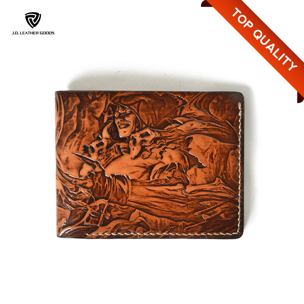 Carved League of Legends Anime Full Grain Leather Wallet Of Handmade Leather Wallet/Unisex Wallet