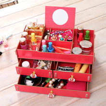 <strong>HOT</strong>! Wood DIY Assemble Large Capacity Make Uup Jewelry Storage Box Case With Mirror