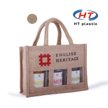 2017 Wholesale Imprint Customized Logo jute bag with window For Tote Shopping