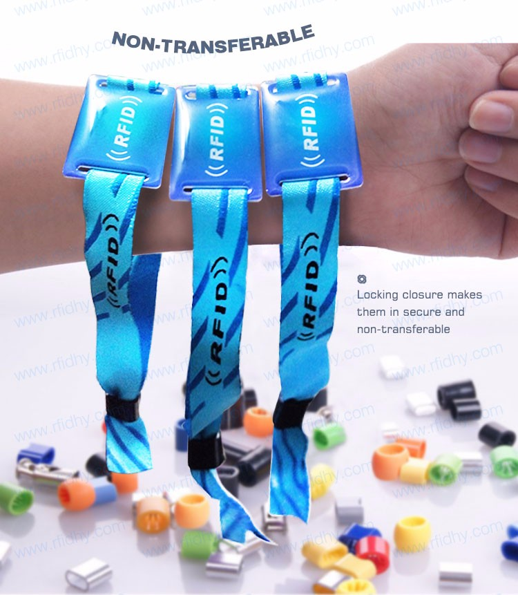 HYWNL01 RFID Woven MIFARE 1K Wristband for Music Festival