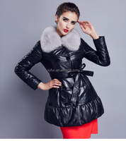 2015 fashion winter women long style genuine sheep leather coat with big silver fox fur collar down coat