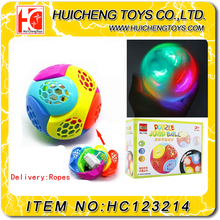 2016 Hot sale flashing plastic hollow ball with light toy for kids