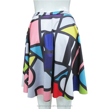 2015 New Fashion Wholesalers Ladies Skirt Colourful Tartan Girl's Skirt Sublimation Printing Skirt