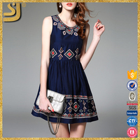 2016 fashion women Custom designs lady cotton embroidered short mini dress
