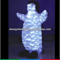 Animated LED crystal sculpture,3D penguin motif light,animal sculpture lighting