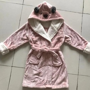 Bear Hooded sherpa plush fleece children kids robe 4fbb919ba