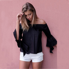 F20216 Fashion ladies blouse design women spiral sleeve shirt off shoulder short tops for women 2016