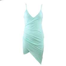 Sexy Ruched High Low Criss-Cross Strap Backless Dress Summer Mint Green Cotton Dress Women V Neck Bodycon Vestidos