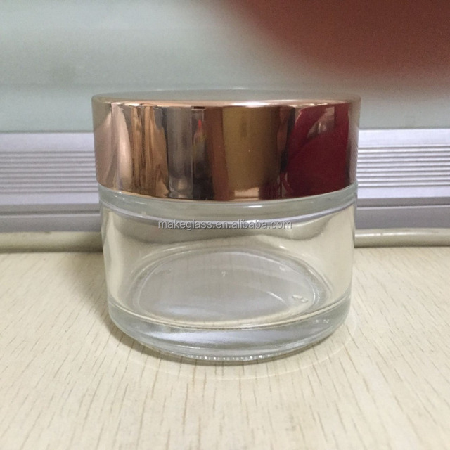 glass cosmetics bottles , glass cosmetics jars with metal lid , 100ml clear glass Jars with metal lids