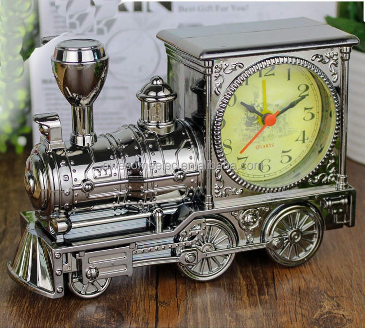 New arrival Car shape electroplating PC golden retro clock desk clock for gifts