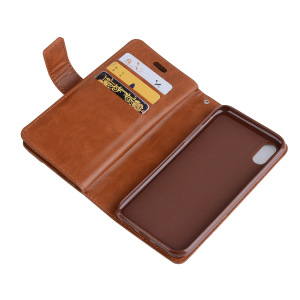 Shockproof protective cell phone case, leather wallet phone case for iPhone X