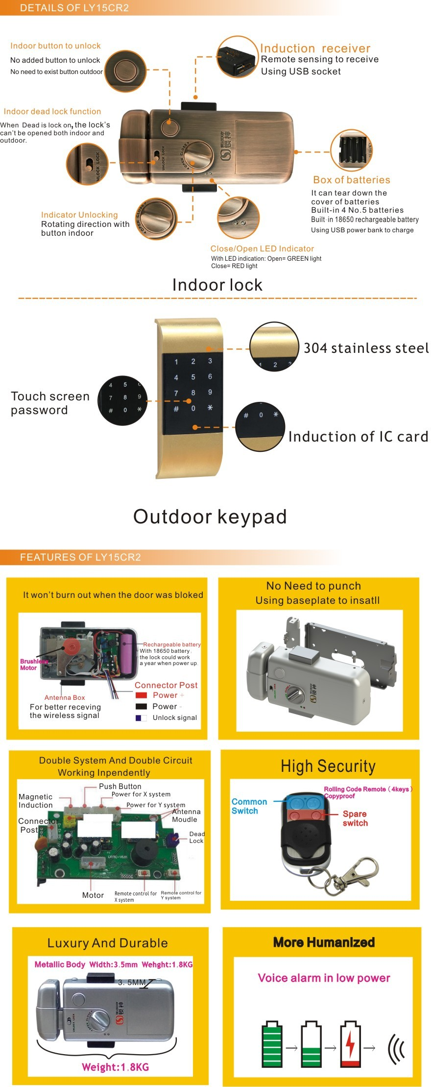 Factory Supply _TM card and Keypad Door Lock for Home or Office Electronic lock , wireless lock (LY15CR2-11BM)