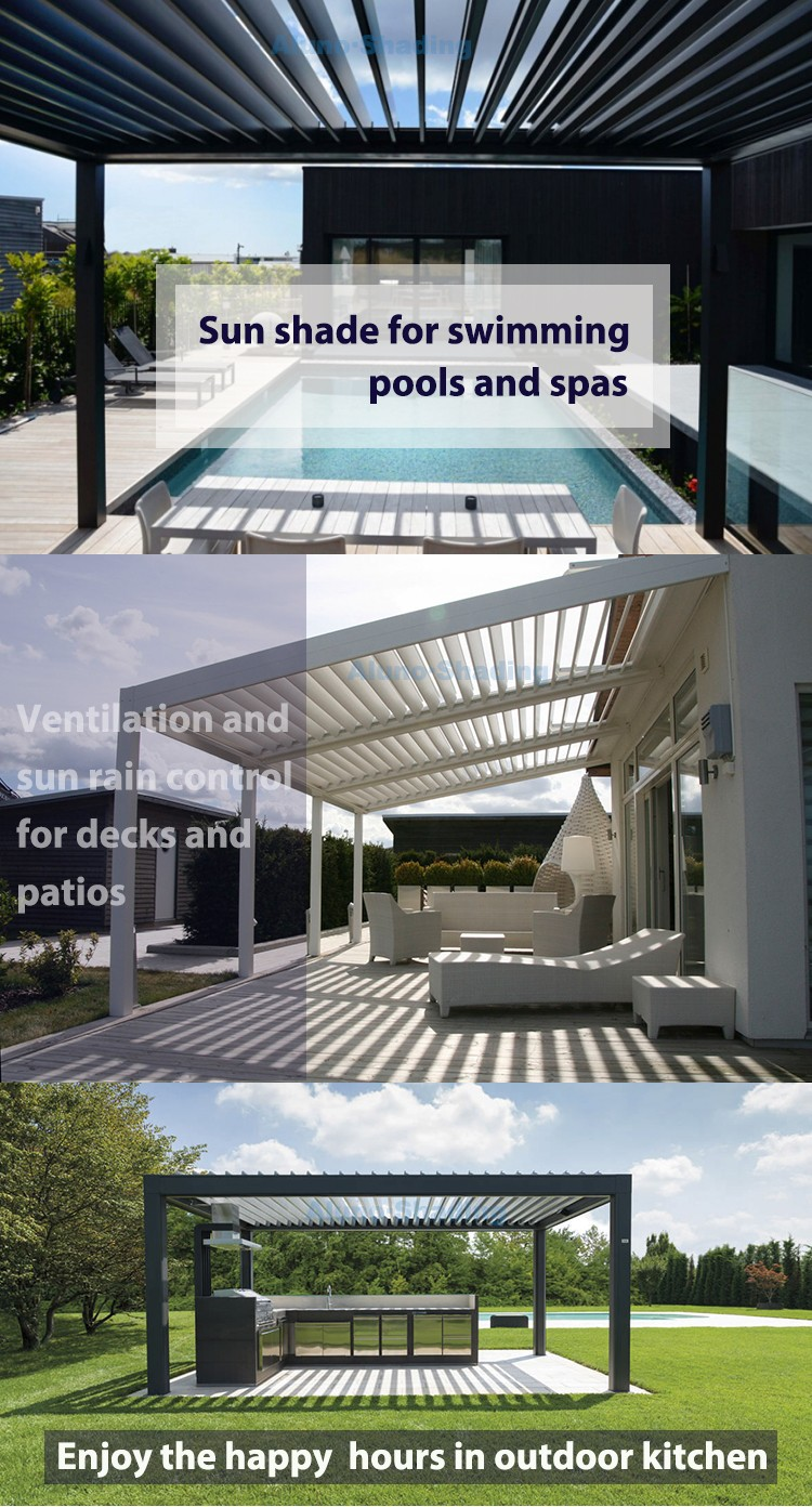 motorized and waterproof garden deck pergola louvre system buy