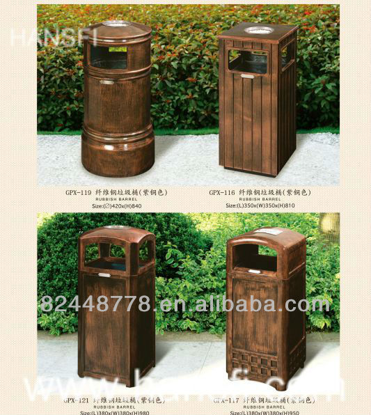 Outdoor wooden rubbish bin