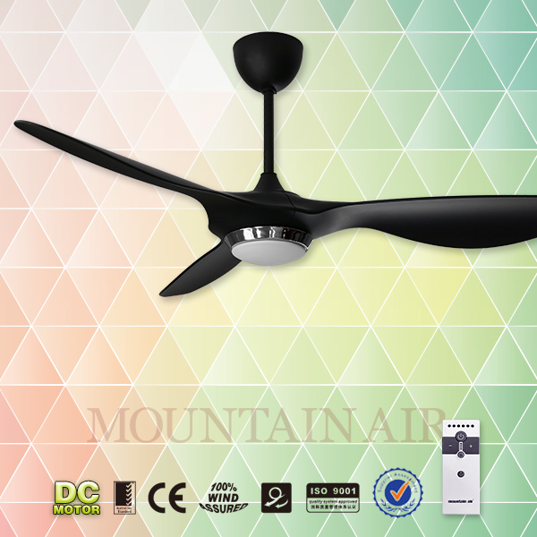 New design DC motor black ceiling fan with light
