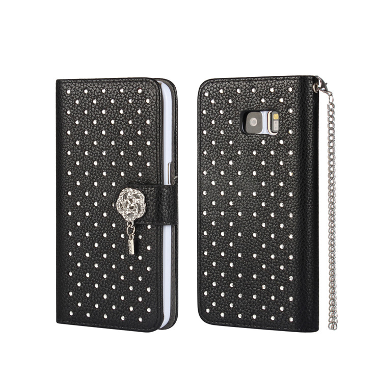 New arrival Luxury Blind diamond shining wallet flip leather case Phone Case For Samsung Galaxy s7