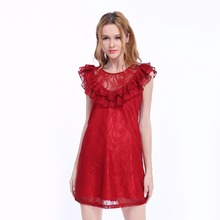 WEFUN Design Summer Casual Lace Crocheted Dress Plain Dyed Ruffle Mini Dress