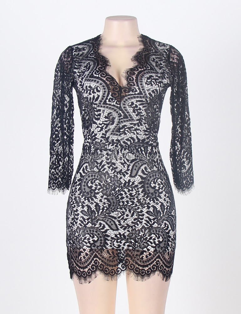 Latest Design New Fashion Sexy Ladies Clubwear Cheap Elegant Long Sleeve Black Lace Dresses
