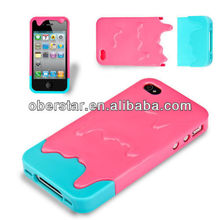 For iPhone 4 4S Cute 3D Melt ice-Cream Hard Cover Case Free Screen Protector