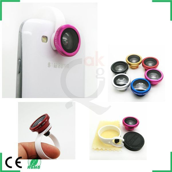 camera lens for galaxy note 2, 180 Degree Fisheye lens with circle clip for any phone