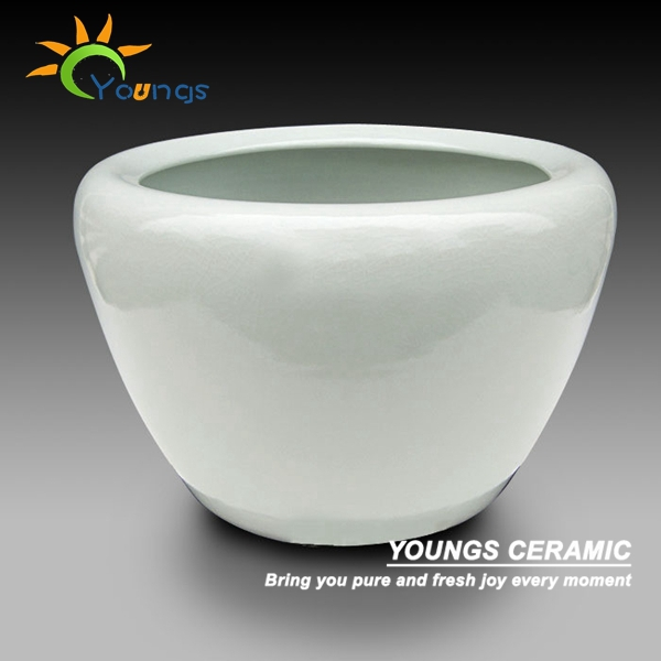 Special large chinese white crackle ceramic planter pots also for fish