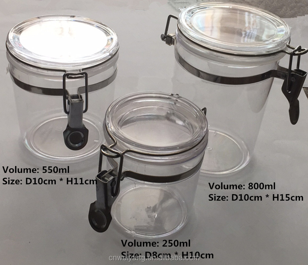 Clear Plastic Food Storage Airtight Container/jar/box/canister With Clip  Lid   Buy Clear Airtight Plastic Jars,Round Plastic Canister With  Lids,Glass Food ...