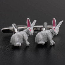 Custom Made Die Casting Rabbit Cufflinks Blanks With Painting