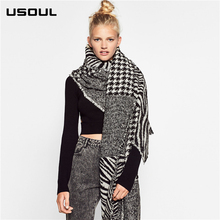 Korean Version of the Vew Imitation Cashmere Ladies Autumn and Winter Houndstooth Long Shawl Wrap Scarf