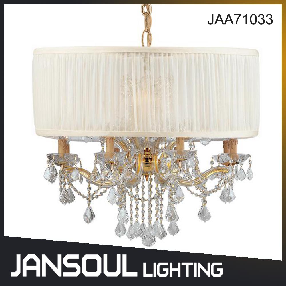 Jansoul E12 E14 LED Chandelier Lamp Lighting Modern with Fabric Lampshade