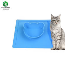 Silicone cat feeding bowl with sift-proof mat, pet dog mat for water and food