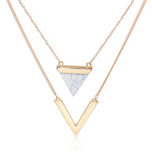 Chevron Multilayer Layered Necklace Gold Plated White Imitation Turquoise V-shaped Triangle Women Jewellery