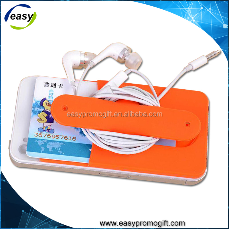 Hot sales 3M sticky silicone business card with mobile phone stand holder