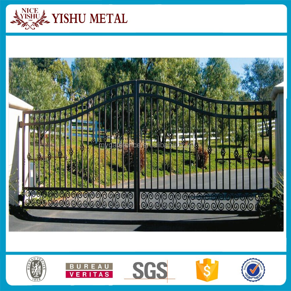 Yishujia factory house iron grill gate design, cheap wrought iron gates, iron pipe gate grill designs
