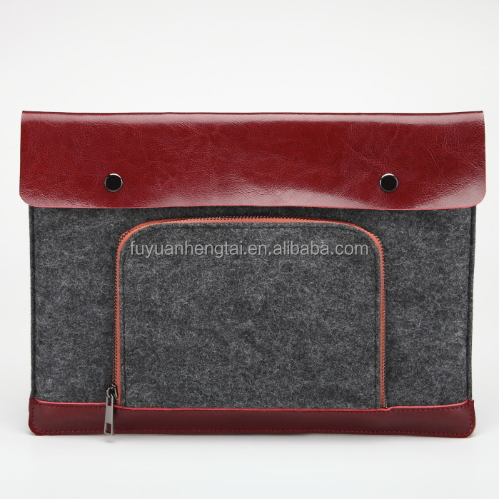 PU leather attached felt laptop protective sleeve, felt laptop bag.