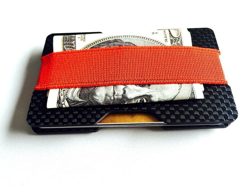 2017 Hot selling 3K Carbon Fiber Credit Card Holder With Elastic Bands