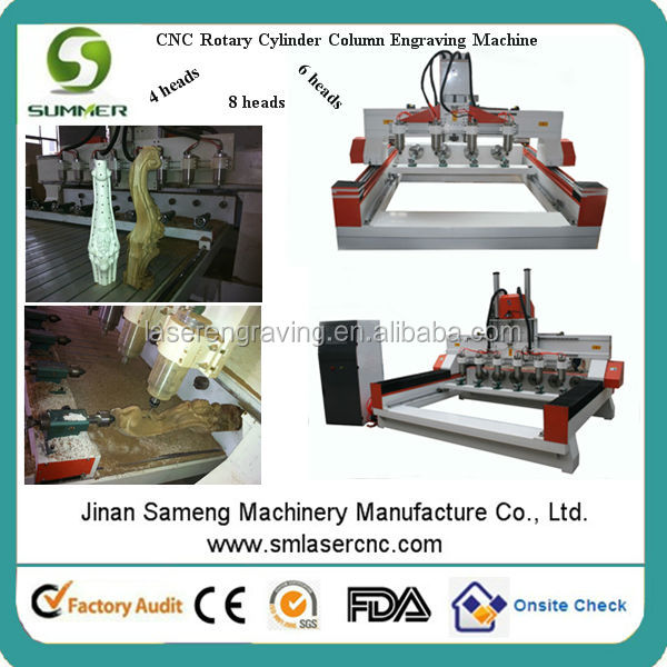 SM1315 4 axis 4 rotary cylinder heads cnc router machine for wood made in china machine for carving price